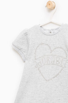Cotton blend outfit with hearts, Grey Marl, hi-res
