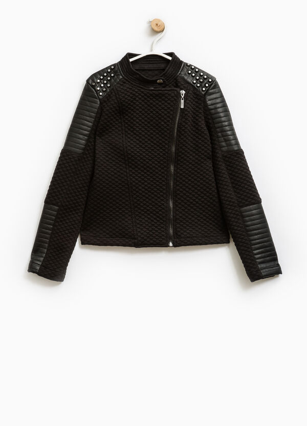 Jacket with studs and asymmetrical zip fastening | OVS