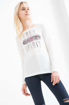 Stretch viscose sweatshirt with print, Milky White, hi-res