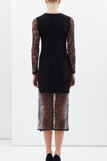 Dress with lace insert, Black, hi-res