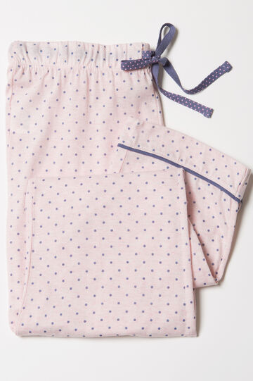 Polka dot cotton blend pyjama trousers., Blue/Pink, hi-res
