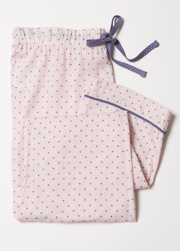 Polka dot cotton blend pyjama trousers. | OVS