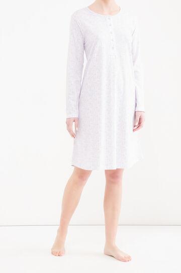 Camicia da notte cotone fantasia, Bianco panna, hi-res