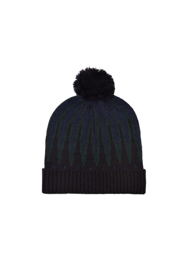 Patterned hat with pompoms | OVS