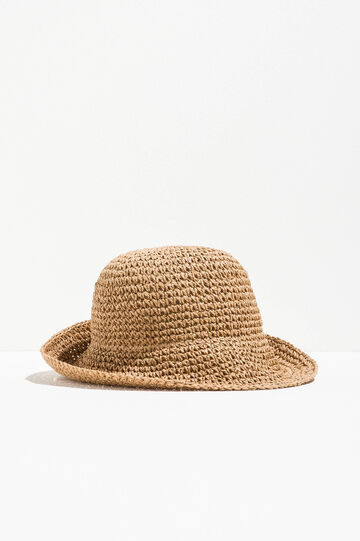 Straw hat with wide brim, Camel, hi-res