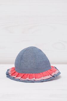 Cappello con balze, Blu, hi-res