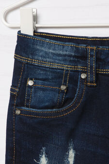 Blue-Black faded stretch jeans, Dark Wash, hi-res