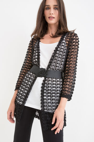 Lace cardigan with belt, Black, hi-res
