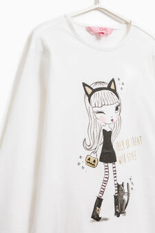 Stretch cotton printed T-shirt, Milky White, hi-res