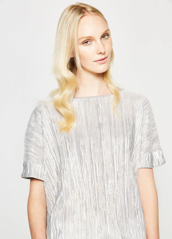 T-shirt with glossy striped weave | OVS