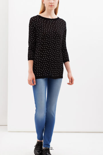 Printed pullover with three-quarter sleeves, Black, hi-res