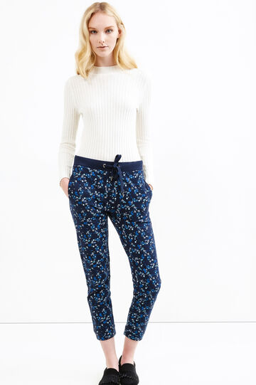Pantaloni tuta misto cotone fantasia, Blu navy, hi-res