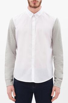 Cotton blend slim fit shirt, White, hi-res