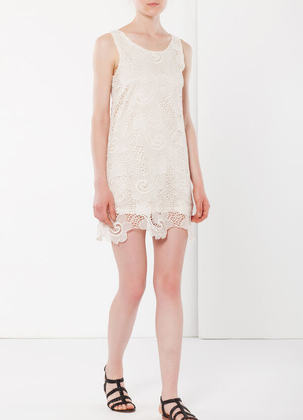 Lace dress with slip. | OVS