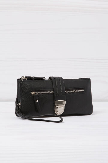 Leather look wallet with two compartments, Black, hi-res