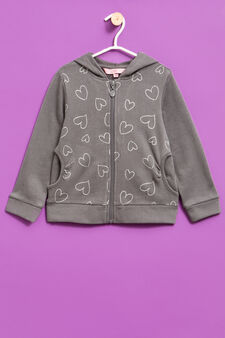 Cotton hoodie with glitter hearts print, Grey, hi-res