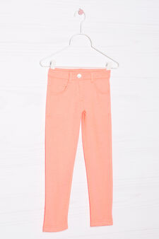 Stretch cotton trousers, Neon Orange, hi-res