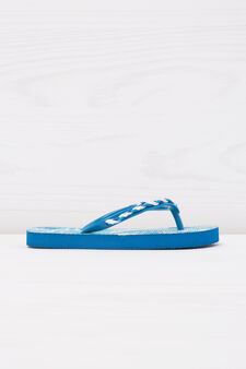 Thong sandals with pattern and insert, Blue, hi-res