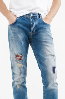 Jeans stretch con strappi effetto used, Denim, hi-res