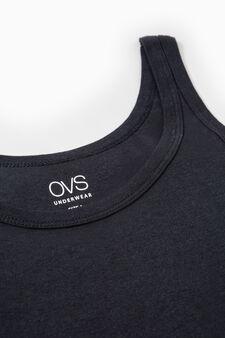 Cotton ribbed under vest with round neck, Black, hi-res