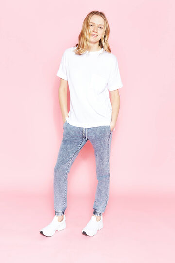 Cotton joggers with mis-dyed effect