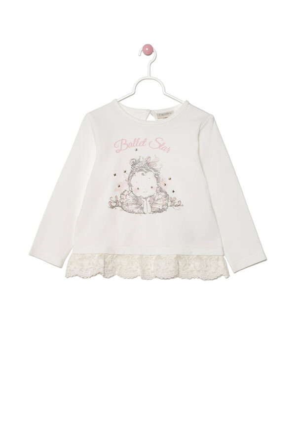 Printed T-shirt with lace frill | OVS