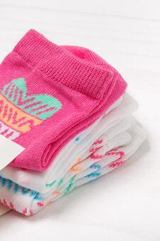 Set tre paia calze stretch fantasia, Multicolor, hi-res