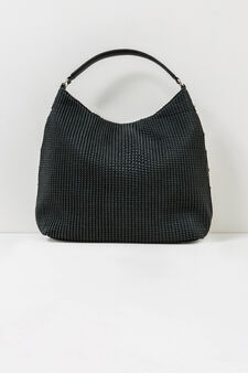 Shoulder bag with raised woven design, Black, hi-res