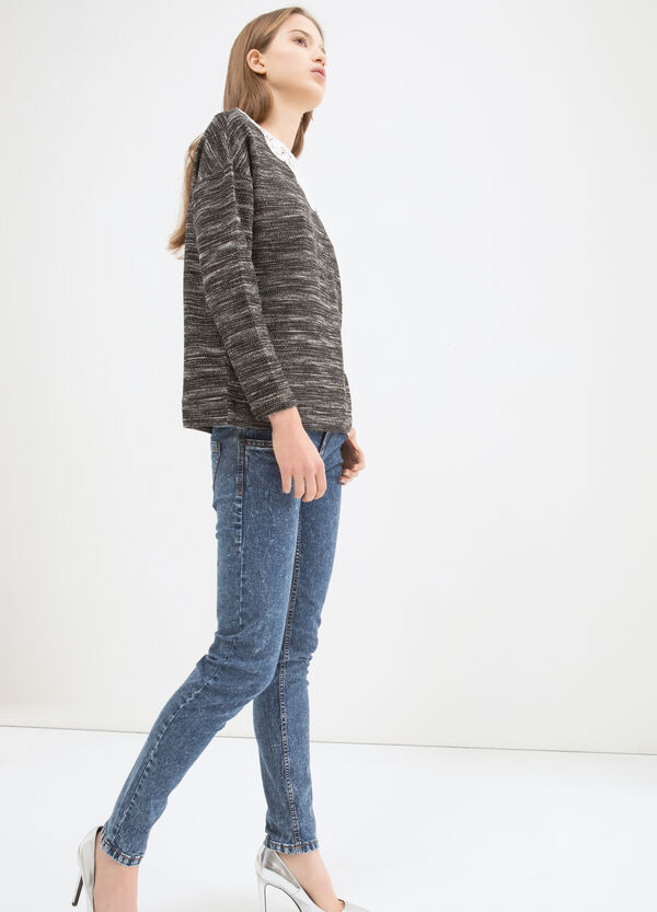 Cotton blend sweatshirt with insert | OVS