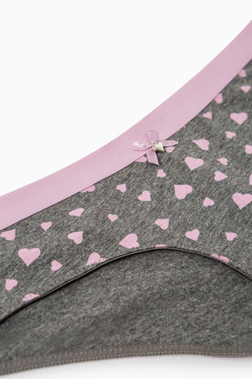 Heart pattern cotton French knickers, Grey Marl, hi-res