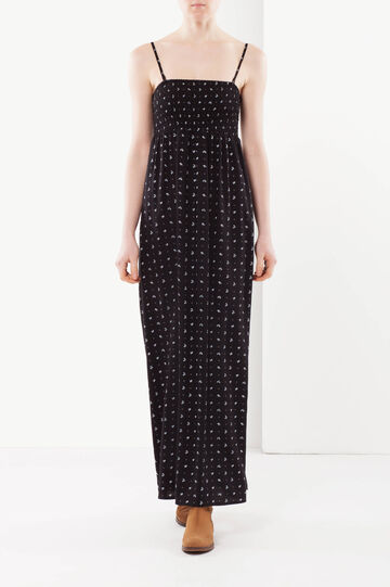 Long sleeveless dress, White/Black, hi-res