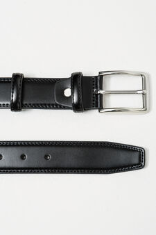 Smooth leather belt with polished buckle, Black, hi-res