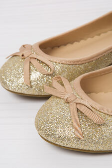 Ballerina flat with round glitter toe, Golden Yellow, hi-res