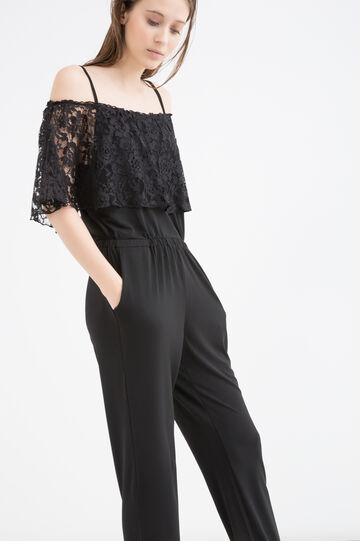 Stretch playsuit with lace, Black, hi-res