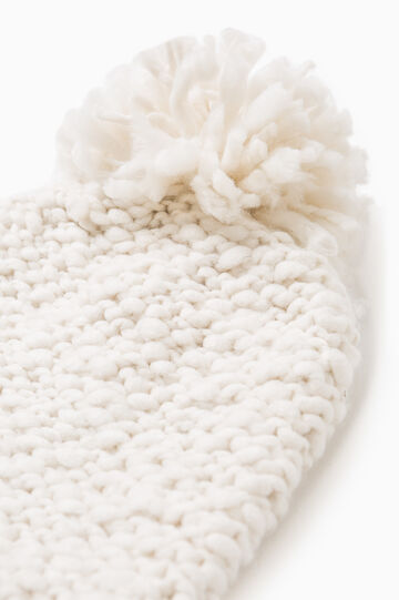 Solid colour beanie cap with pompom, Cream White, hi-res