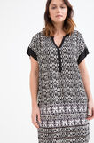Curvy printed dress in viscose., Black/White, hi-res
