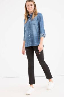 Teen denim shirt with pattern, Denim, hi-res