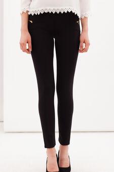 Plain stretch leggings, Black, hi-res