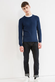 Viscose blend pullover with ribbing, Blue, hi-res