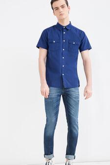 Camicia cotone tinta unita G&H, Blu, hi-res