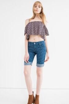 Stretch denim Bermuda shorts with pattern, Medium Wash, hi-res