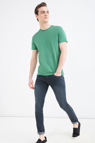 Cotton T-shirt with round neck, Emerald Green, hi-res