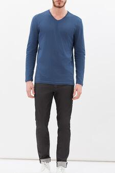 Long-sleeved T-shirt with V neck, Denim Blue, hi-res