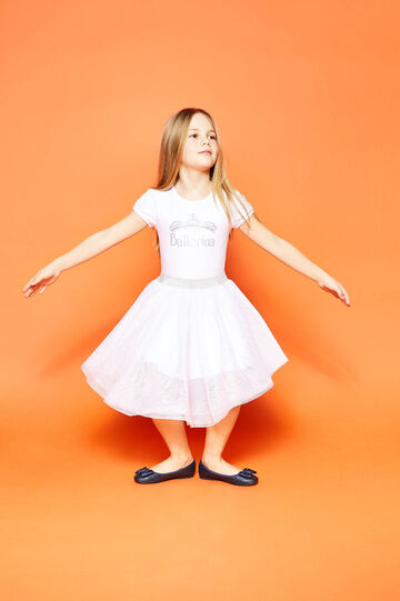 Dress in tulle with Ballerina print, White, hi-res
