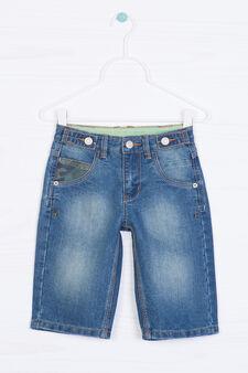 Worn-effect denim shorts, Denim, hi-res