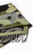 Viscose scarf with jacquard floral pattern, Green, hi-res