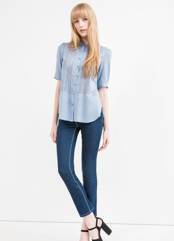 100% viscose shirt with mandarin collar | OVS