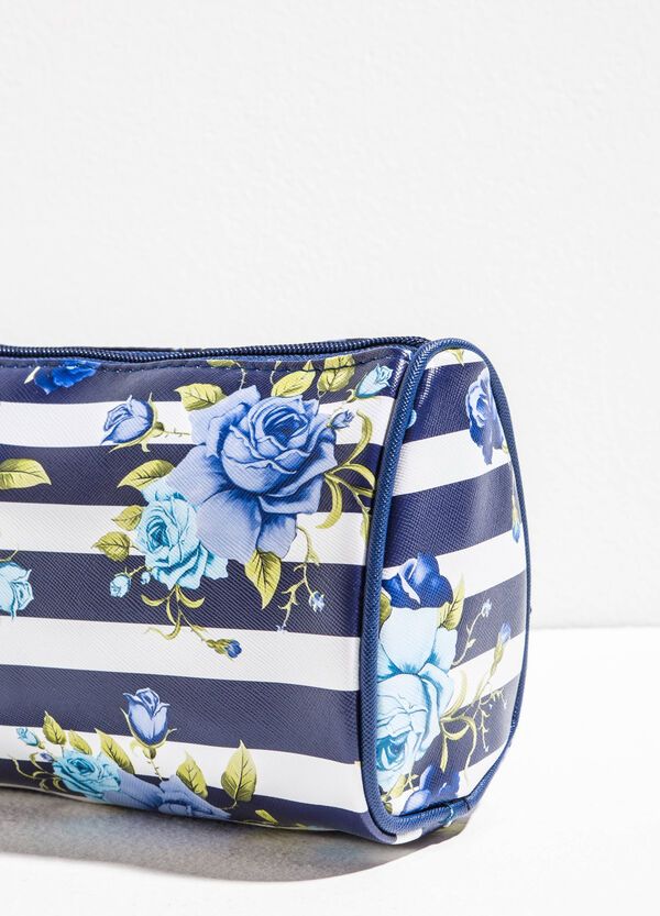 Saffiano effect clutch with flowers and stripes | OVS