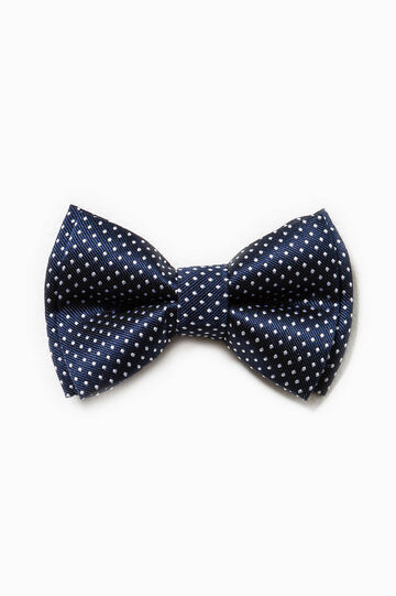 Polka dot patterned bow tie, White/Blue, hi-res