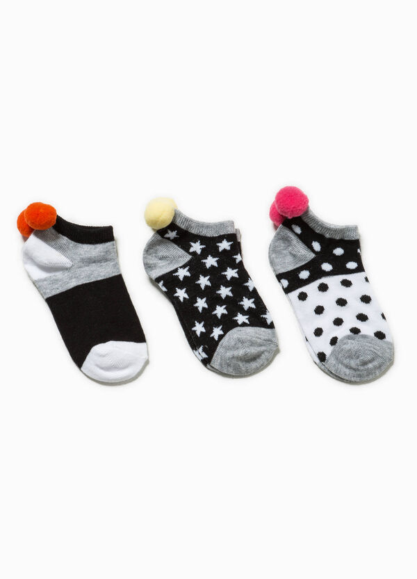 Three-pack socks with pompoms | OVS